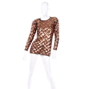 1990s Vintage Copper Sequins Beaded Knit Pullover Sweater Top