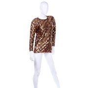 Vintage Copper Sequins Beaded Knit Pullover Sweater Top Holiday Sparkle