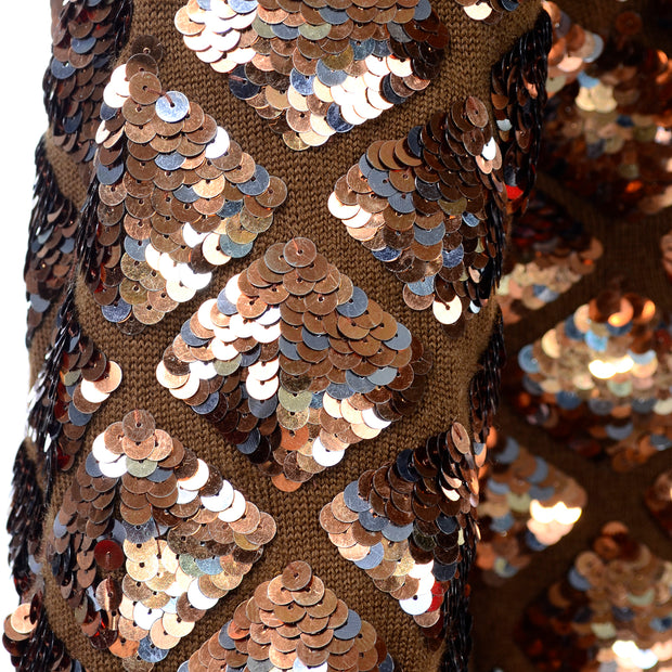Vintage Copper Sequins Beaded Knit Pullover Sweater Top Diamond