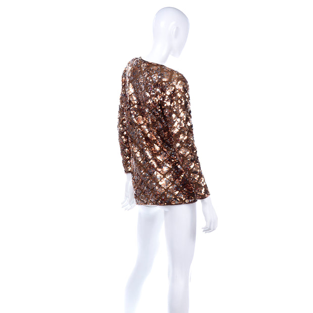 Holiday Vintage Copper Sequins Beaded Knit Pullover Sweater Top