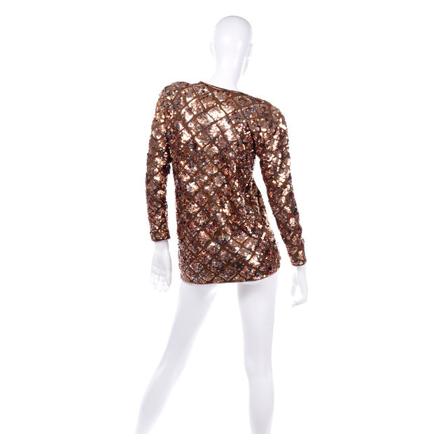Vintage Copper Sequins Beaded Knit Pullover Sweater Top Sparkle