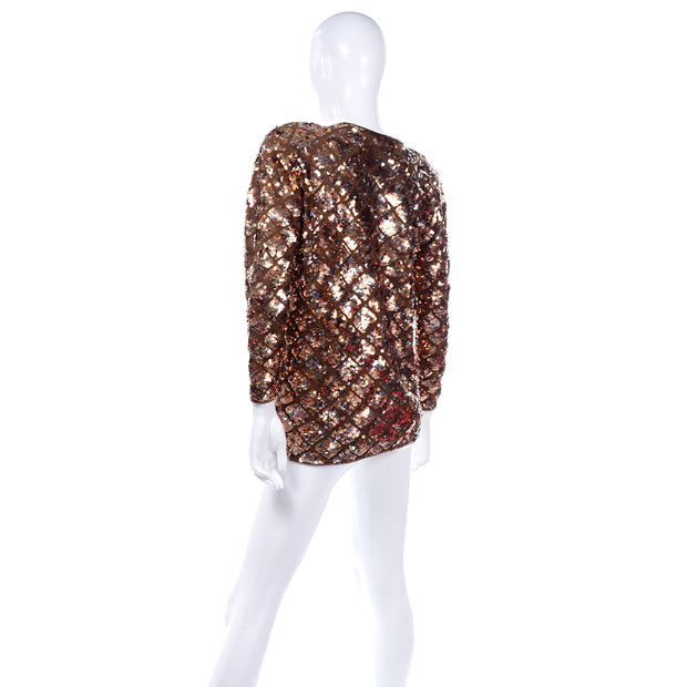 Vintage Copper Sequins Beaded Knit Pullover Sweater Top Sparkle Holiday top