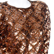 Vintage Copper Sequins Beaded Knit Pullover Sweater Top Beads