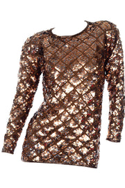 Vintage Copper Sequins Beaded Knit Pullover Sweater Top