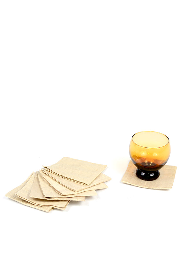 Cream Silk Vintage Cocktail Napkins