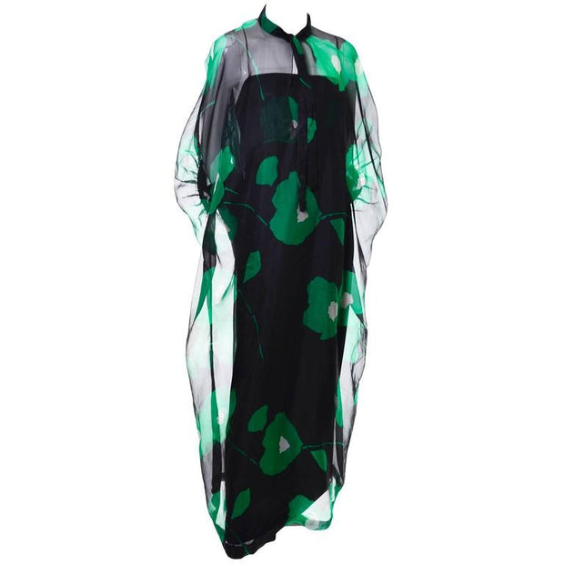 Black and Green Floral Organza Vintage Dress