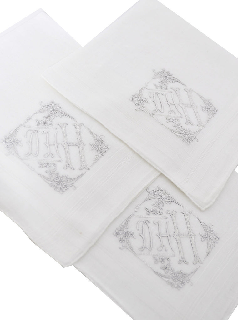 embroidered monogrammed vintage handkerchiefs