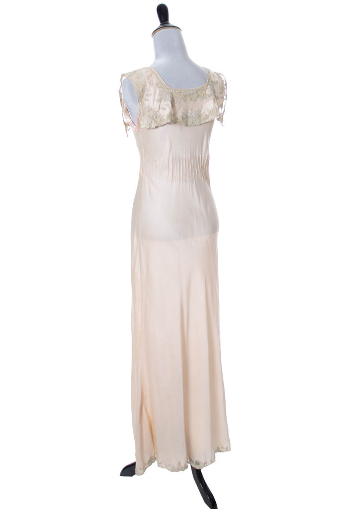 1930s Vintage Silk Nightgown with Lace Applique