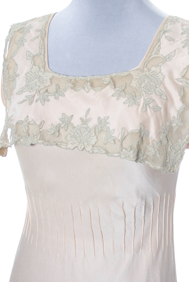 1930s Vintage Silk Nightgown with Lace Applique - Dressing Vintage