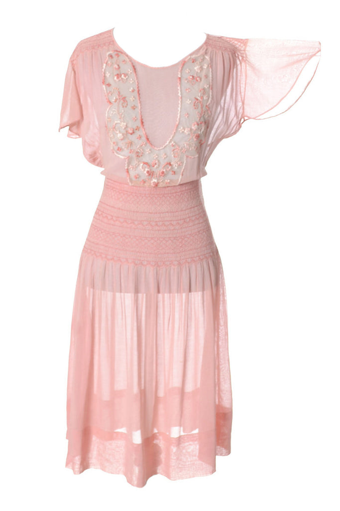 1920s Pink Vintage Dress in Cotton Voile w Floral Embroidery - Dressing Vintage