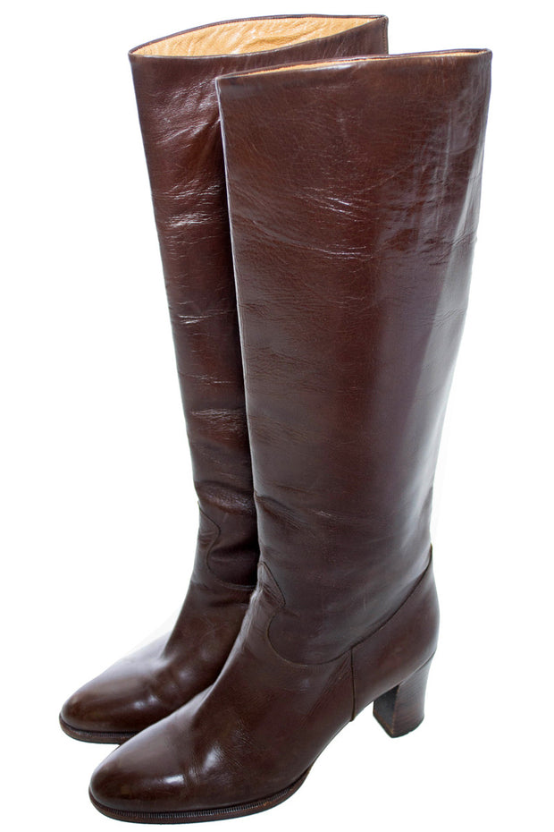 Boutique Mancini Vintage Brown Leather Boots 7.5 - Dressing Vintage