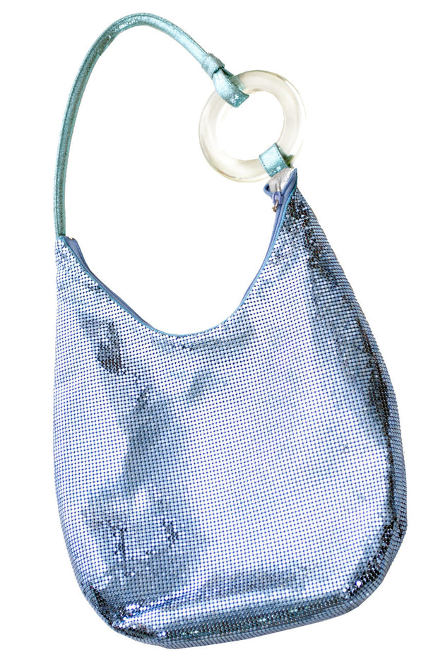 Whiting and Davis Blue mesh hobo handbag with lucite ring SOLD - Dressing Vintage