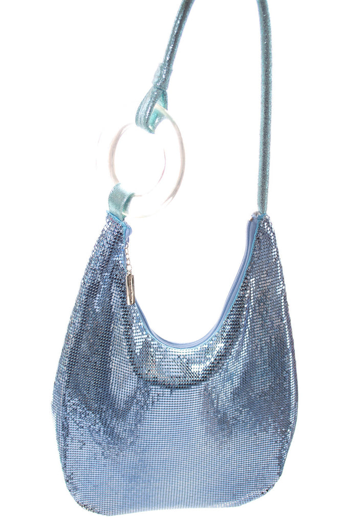 Blue mesh whiting and davis hobo bag