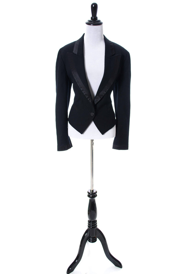 Emil Rutenberg Vintage Black Wool Tuxedo Jacket With Satin Trim - Dressing Vintage
