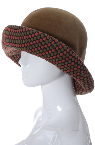 Dale Kelly Vintage Brown Felted Wool Hat with Patterned Knit Brim - Dressing Vintage