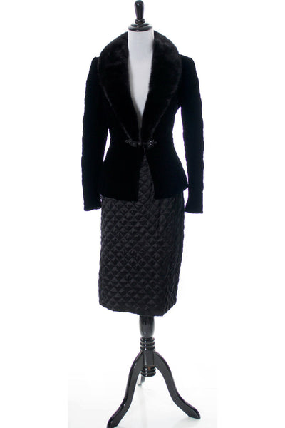 As New Valentino Designer Vintage Black Velvet Jacket With Fur Collar And Silk Skirt SOLD - Dressing Vintage