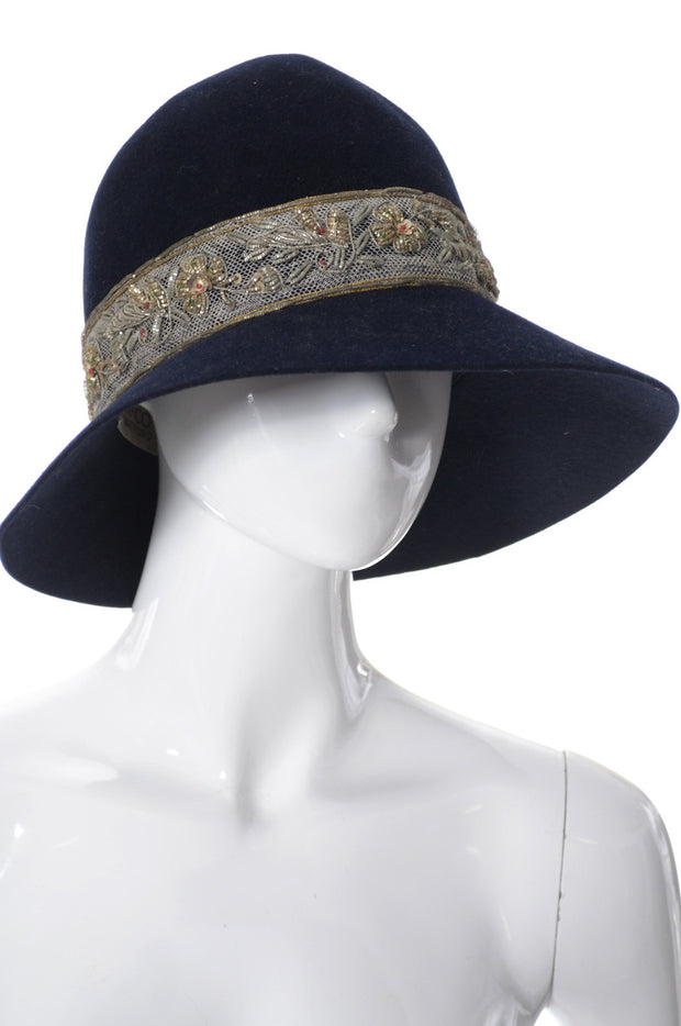 Vintage mid century floppy hat with metallic embroidery - Dressing Vintage
