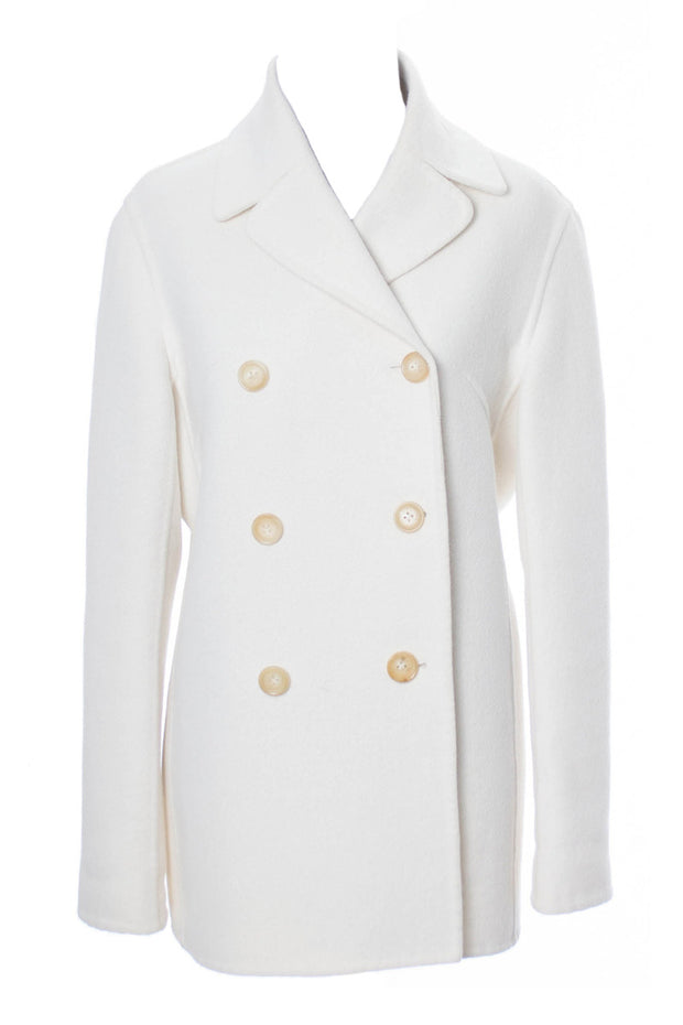 Vintage White Wool Celine Coat Medium - Dressing Vintage