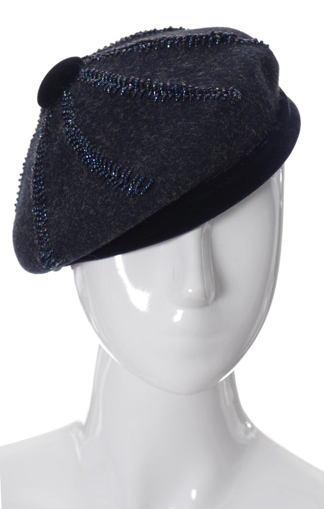 Vintage Nicholas Ungar navy blue wool beret hat with beautiful beading