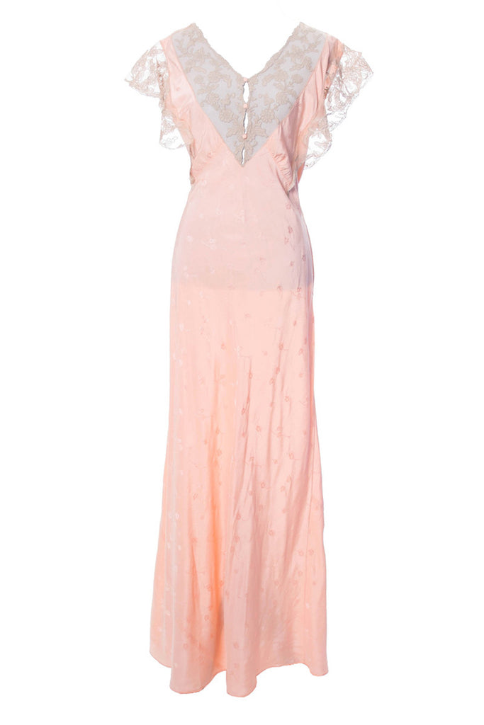 1930s Salmon Pink Silk Vintage Nightgown with Lace Trim - Dressing Vintage