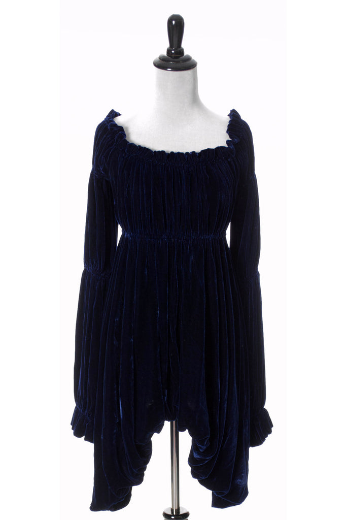 Norma Kamali blue velvet vintage dress