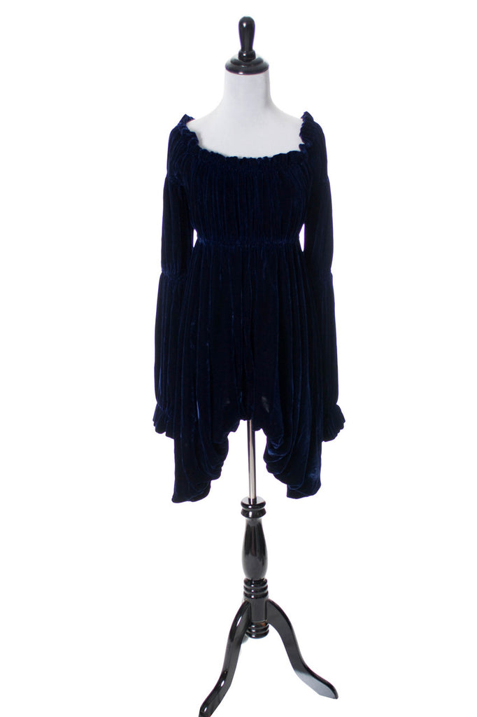 Vintage Norma Kamali midnight blue velvet dress