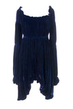 Norma Kamali blue velvet vintage 1980s dress