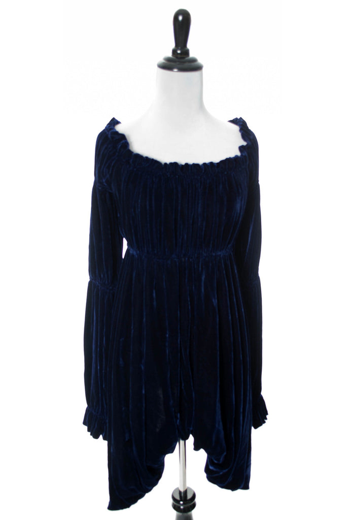 Norma Kamali vintage blue velvet dress
