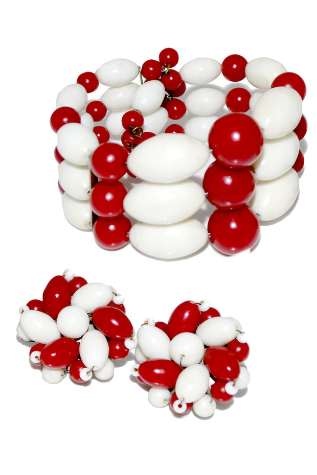 1950's Vintage Coil Bracelet & Earrings Set Red White Beads - Dressing Vintage
