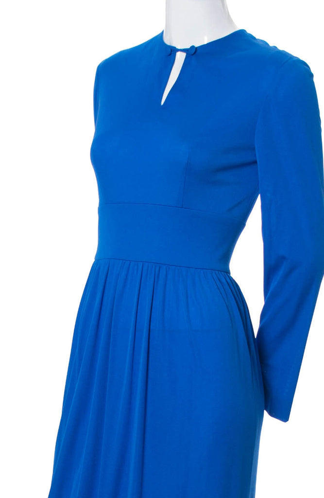 1960s Emilio Pucci Bright Blue Silk Jersey Vintage Dress - Dressing Vintage