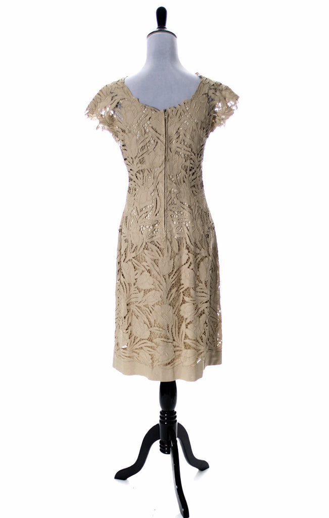 Fabulous 60's Vintage Lace Dress Cut Work Roses Cocktail or Mother of the Bride Dress