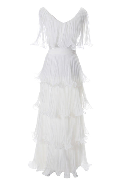 Miss Elliette Vintage Dress White Layered Chiffon Ruffles - Dressing Vintage