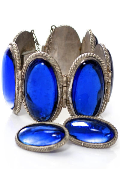 Del Rio Hecho en Mexico Vintage Blue Stone Sterling Silver Bracelet & Earrings - Dressing Vintage