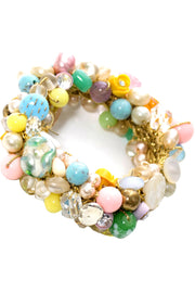 Collectible Original 1950s Vintage Button Bead Bracelet Glass Rhinestones - Dressing Vintage