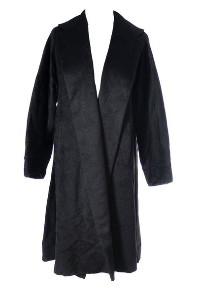 Black Mohair Long Open Front Coat