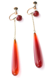 Vintage Victorian Carnelian agate drop earrings - Dressing Vintage