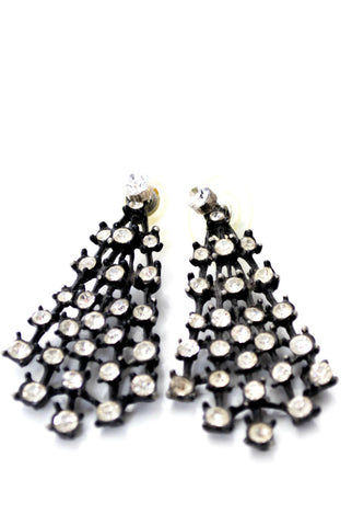Black Fan Shaped Rhinestone Pierced Vintage Earrings Jackets - Dressing Vintage