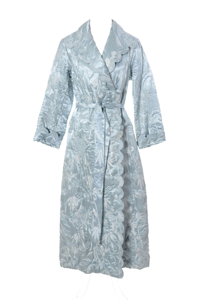 1930\'s vintage blue silk quilted hostess robe with matching belt ...