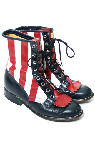 Laredo Vintage Boots American Flag USA red white and blue 7M - Dressing Vintage