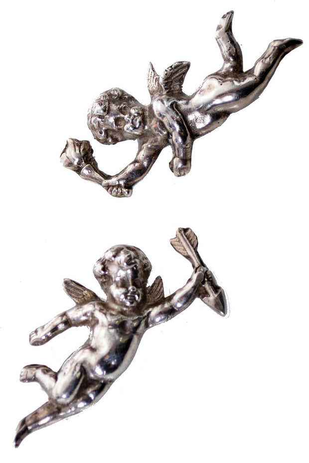 Sterling silver 1940s cherub angel pins pair - Dressing Vintage