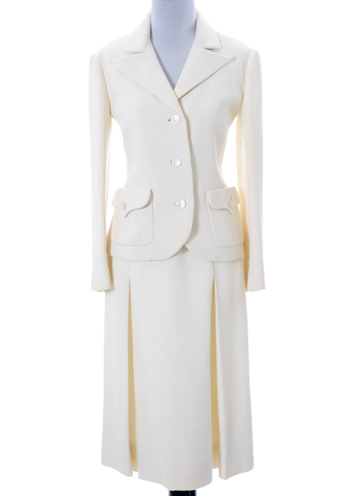 Valentino vintage winter white wool  skirt suit mint condition