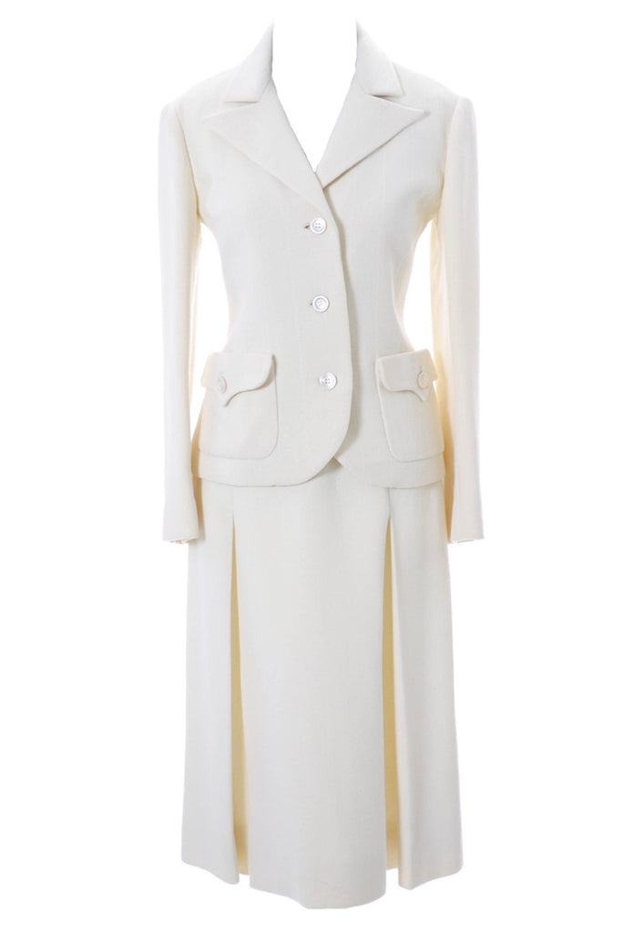 White valentino wool skirt suit