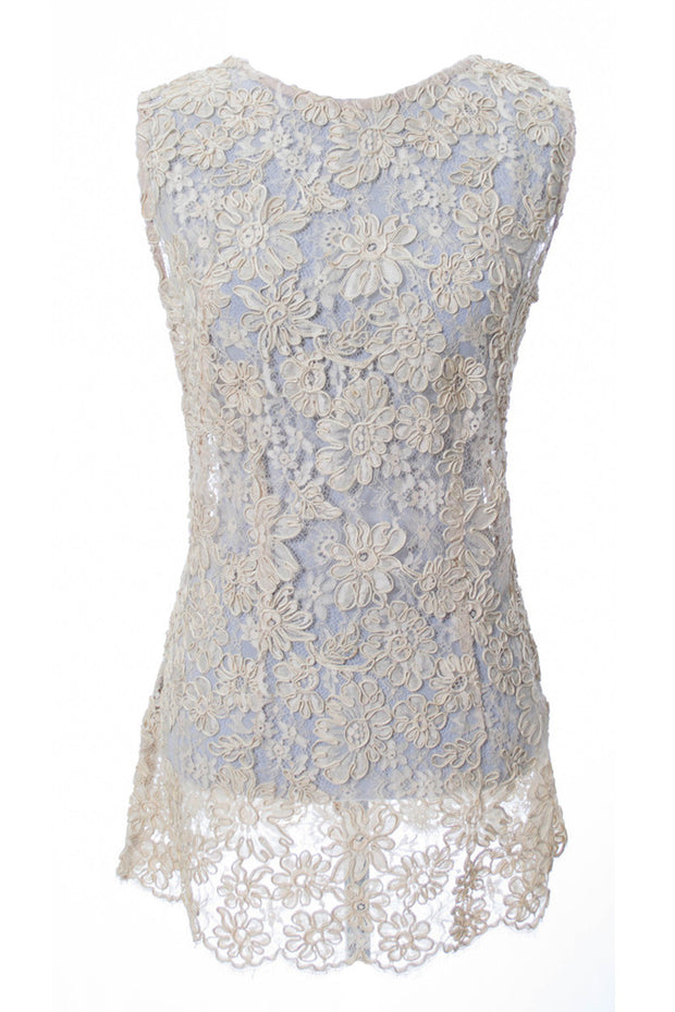 Exquisite Vintage Lace 1960s Sleeveless Top - Dressing Vintage
