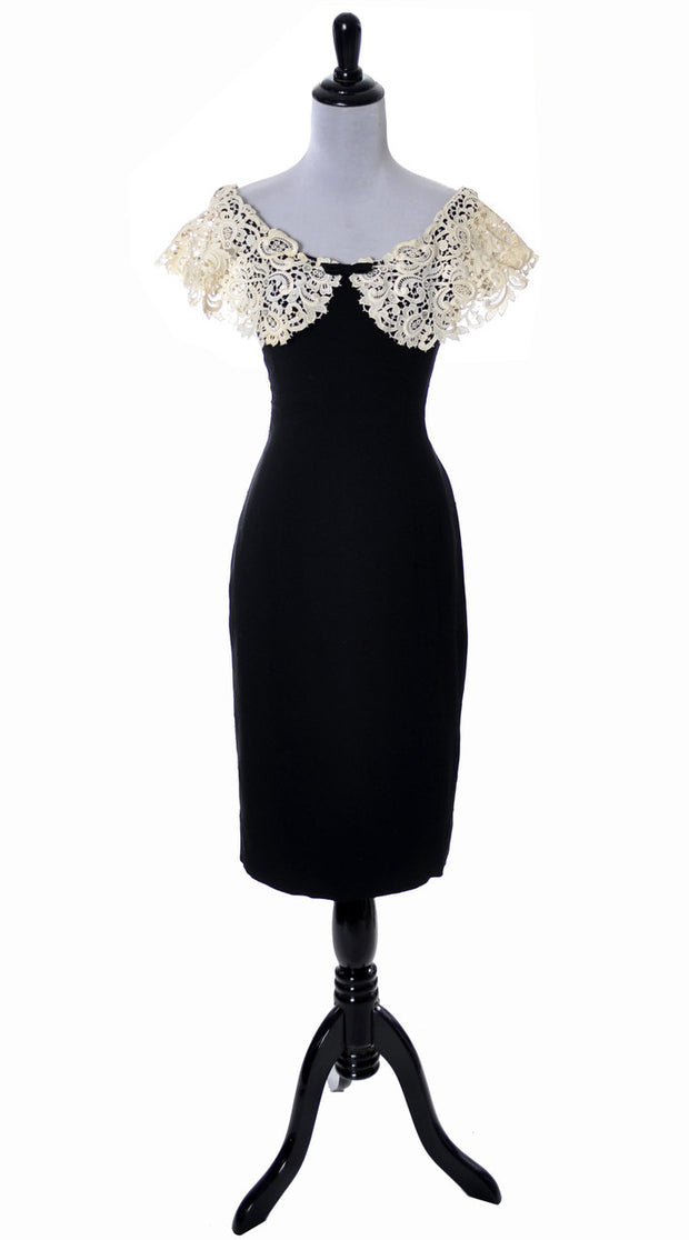 1950's Black Cocktail Dress with Wide Irish Lace Collar - Dressing Vintage