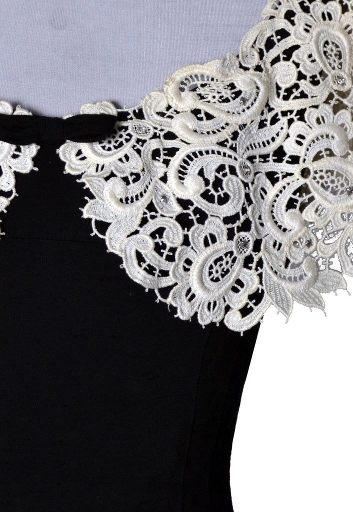 vintage black silk dress lace