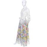 Dalani Vintage Dress Organza Floral 1970s Long