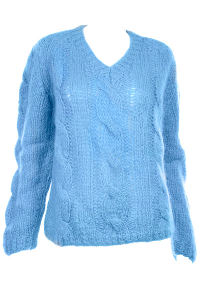 1950s Damon Cable Knit Blue Mohair Pullover Sweater