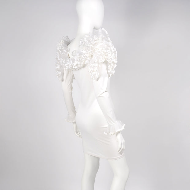 1980s Dana Deatherage Vintage Bodycon Ruffled White Dress