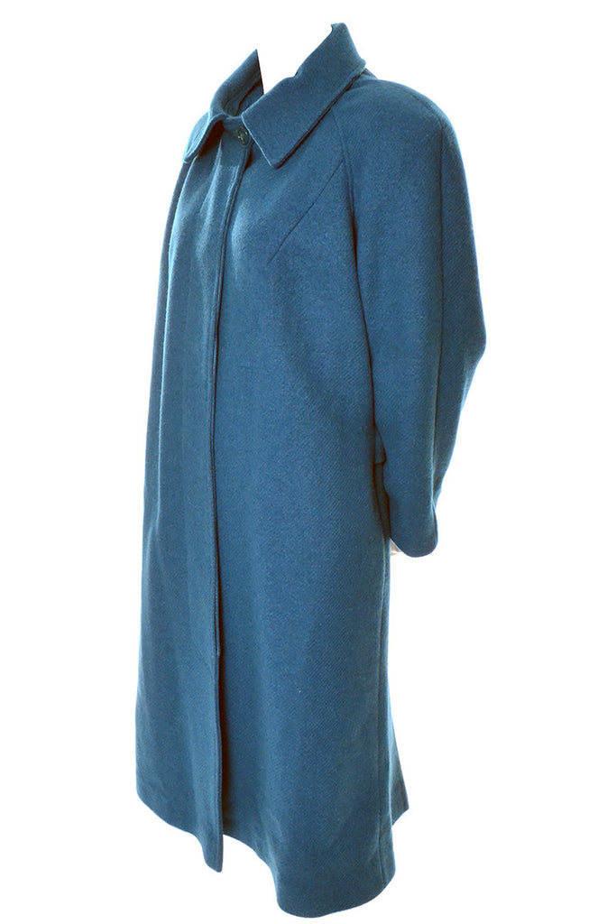 Dead Stock 1980s Turquoise Wool New Coat Vintage