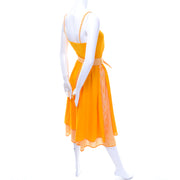 Vintage Lanvin Dress Dead Stock in Orange Yellow Marigold Cotton W Tag - Dressing Vintage